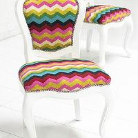 Seating - Florence Dining Chair I roomservicestore - multi-colored chevron dining chair, multi-colored zig zag dining chair, white dining chair with multi-colored chevron backrest and seat,
