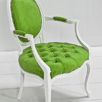 Seating - Victoria Dining Arm Chair in Green Velvet I roomservicestore - green velvet dining chair, white dining chair with green velvet seat and back, green velvet tufted dining chair,