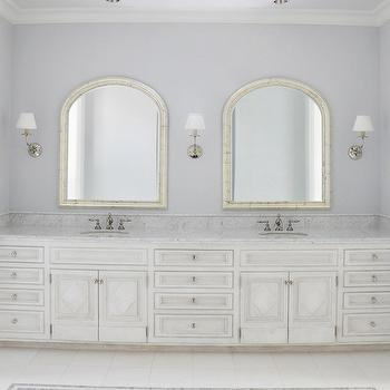 Kathleen Clements Design - bathrooms - white and gray bathroom, lilac gray walls, lilac gray walls, arched mirrors, arched bathroom mirrors, bathroom arched mirrors, arched mirrors bathroom, built in double vanity, antique white vanity, antique white double vanity, antique white bathroom vanity, antique white cabinets, antique white bathroom cabinets, carrara marble, carrara marble countertop, his and her sinks, inset floor tile, inset tile floor, inset bathroom tiles, marble mosaic tile, marble mosaic inset tiles,