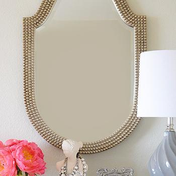 Fabulous K - bedrooms - beaded mirror, Howard Elliott Lancelot Mirror, beaded mirror, silver beaded mirror, mother of pearl mirror, lilac lamp, lilac table lamp, vanity, jewelry bust, necklace bust, ikat bowl, gray ikat bow, perfume bottles, Lancelot Mirror,