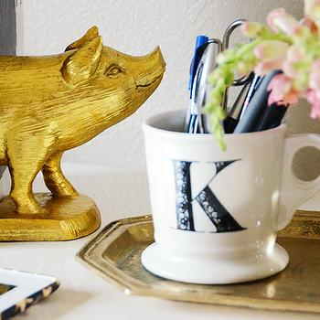 Fabulous K - dens/libraries/offices - gold bookends, pig bookends, gold pig bookends, monogrammed mug, anthropologie mug, styled desk, CB2 Pig Bookends,