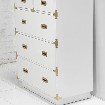 Storage Furniture - Jet Setter Dresser I roomservicestore - white campaign style dresser, white dresser with brass hardware, white dresser with brass campaign style hardware,
