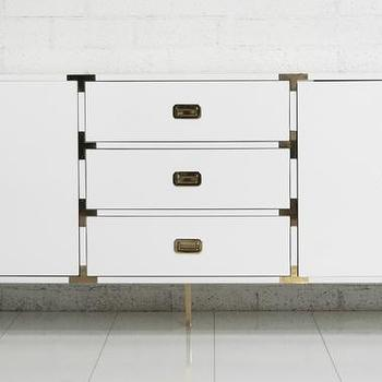 Storage Furniture - Jet Setter Credenza I roomservicestore - modern white dresser with brass hardware, modern white lacquered dresser with brass hardware, modern white lacquered dresser with brass campaign hardware,