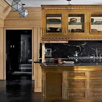 Brass Kitchen Island, Eclectic, kitchen, Elle Decor