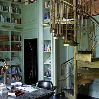 Brass Spiral Staircase, Eclectic, den/library/office, Elle Decor