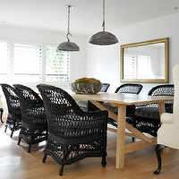 Kathleen Clements Design - dining rooms - galvanized metal pendants, galvanized metal light pendants, galvanized metal chandeliers, light wood dining table, rectangular dining table, black wicker chairs, wicker dining chairs, black wicker dining chairs, captain chairs, captain dining chairs, cream dining chair, cream wingback chair, cream captain chair, cream captain dining chair,