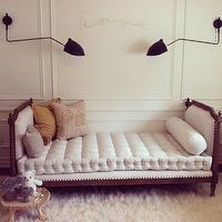 Bijou and Boheme - nurseries - wall moldings, decorative wall moldings, wall trim, trim molding, modern wall sconces, french settee, french tufted settee, tufted settee, fluffy sheepskin rug, rustic stool,