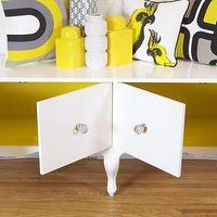 Storage Furniture - Baroque Credenza I roomservicestore - white lacquered credenza with yellow interior, white credenza with yellow interior, cabriole footed white credenza with yellow interior,