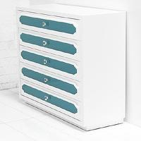 Storage Furniture - Hollywood Tall Boy Dresser I roomservicestore - white and aqua lacquered dresser, white lacquered dresser with aqua glass inserts, white and aqua modern lacquered dresser,