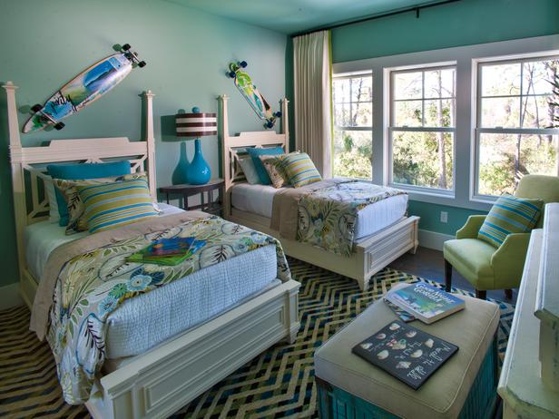Turquoise Paint Colors Contemporary Boys Room