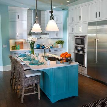 Turquoise Kitchen Island, kitchen, Sherwin Williams Watery, HGTV