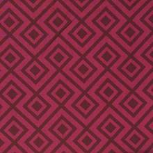 Fabrics - David Hicks La Fiorentina Wine and Magenta Fabric I LynnChalk.com - geometric red and maroon fabric, modern red and maroon fabric, wine colored geometric fabric,