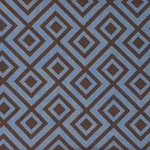 Fabrics - David Hicks La Fiorentina Brown and Blue Fabric I LynnChalk.com - brown and blue fabric, modern brown and blue fabric, geometric brown and blue fabric,