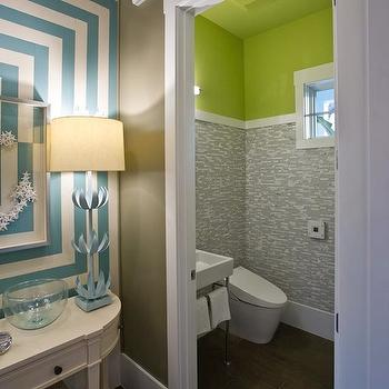 HGTV - bathrooms - green walls, green wall color, green powder room walls, white trim, white baseboards, wide baseboards, concentric striped walls, concentric square striped walls, turquoise and white concentric square walls, hickory floors, hickory hardwood floors, hardwood floors, demilune console, white demilune console table, turquoise table lamps, powder room, modern toilet, washstand sink, chrome based washstand sink with towel rail, contemporary washstand sink, gray mosaic tile, stone and mosaic glass-blend tile, mosaic glass-blend tile, gray mosaic tiled walls, gray mosaic tiled powder room, polished chrome faucet, Stray Dog Designs Doug Buffet Lamps, neon green walls, neon green paint, neon green paint, neon green paint colors, Stray Dog Designs Doug Buffet Lamp,