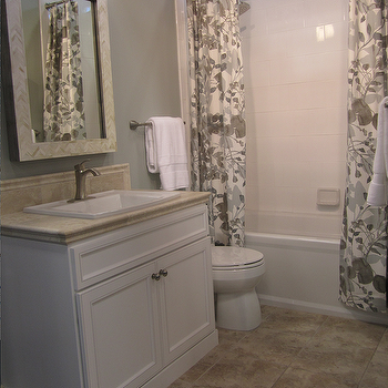 bathrooms - mirror, and, curtains, from, West, Elm, tile, from, the, Tile, Shop,  bathroom with ceramic white wall tile tub surround and ceramic