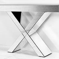 Tables - Regency X-Leg All Mirror Console Table I roomservicestore - x-leg mirrored console, mirrored console table, x-base mirrored console table,