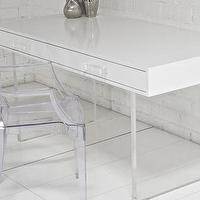 Tables - London Desk I roomservicestore - glossy white lacquer desk with lucite legs, lucite based white lacquered desk, modern white lacquered desk with lucite legs,