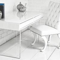 Tables - London White Starfire Glass Desk I roomservicestore - modern white desk with glass legs, glass based desk with white lacquered top, white lacquered desk with glass base,