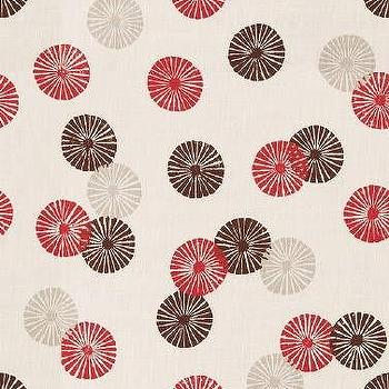 Fabrics - Groundworks Kasa Berry Fabric I LynnChalk.com - ivory gray red and brown fabric, ivory gray red and brown fan patterned fabric, ivory grey red and brown linen fabric,