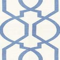 Fabrics - Groundworks Gazebo Blue Fabric I LynnChalk.com - blue and white trellis fabric, blue and white fabric, blue and white geometric fabric,