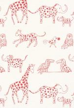 Fabrics - Lulu DK Jungle Jubilee Punch Fabric I LynnChalk.com - pink and white animal fabric, pink and white kids fabric, pink and white animal patterned fabric,