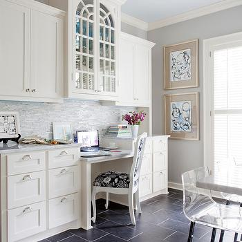 Kitchen Built In Desk, Transitional, kitchen, Sherwin Williams Knitting Needles, Andrea Brooks Interiors