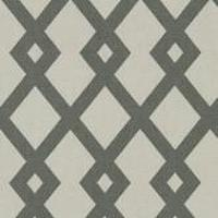 Fabrics - Robert Allen Graphic Fret Greystone Fabric I LynnChalk.com - grey and white geometric fabric, grey and white fabric, gray and white interlocking diamond fabric,