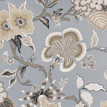 Fabrics - Schumacher Celerie Kemble Hot House Flowers Mineral Fabric I LynnChalk.com - blue and beige floral fabric, blue gray and beige floral fabric, celerie kemble floral fabric,