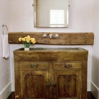 Chatelaine - bathrooms - rectangular pivot mirror, pivot mirror, sconces flanking mirror, reclaimed wood slab, faucet on wood slab, reclaimed wood vanity, reclaimed wood sink, reclaimed wood sink vanity, reclaimed wood washstand, reclaimed wood cabinets, reclaimed wood bathroom cabinets, salvaged wood vanity, salvaged wood sink, salvaged wood sink vanity, salvaged wood washstand, salvaged wood cabinets, salvaged wood bathroom cabinets,