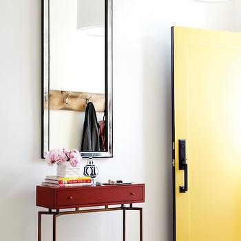Chatelaine - entrances/foyers - yellow door, yellow front door, black and white rug, foyer ruf, black and white diamonds rug, red console table, red foyer table,