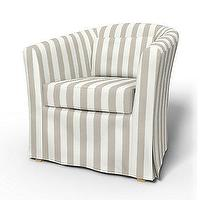 Fabrics - Tullsta Armchair cover - Armchair Covers | Bemz - bemz, ikea, slipcover, stripes, neutral, cabana, chair