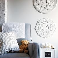 Chatelaine - nurseries - nursery, nursery glider, gray glider, gray nursery glider, ceiling medallions, ceiling medallion art, ceiling medallion wall art, toy chest, chalkboard labels, white and gray pillow,