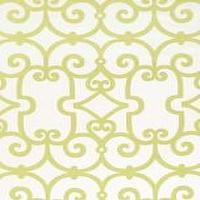Fabrics - Schumacher Manor Gate Aloe Fabric I LynnChalk.com - green and white fabric, green and white iron gate patterned fabric, green and white patterned fabric,