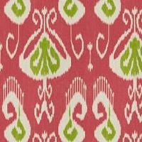 Fabrics - BANSURI Peony by Kravet Echo Home Fabric I LynnChalk.com - pink and green ikat fabric, pink green and white ikat fabric, ikat fabirc,