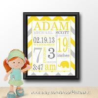 Art/Wall Decor - baby announcement wall art yellow grey chevron by PinkeeArt - kids, art, print, nursery, decor, paper,