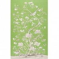Fabrics - Schumacher Mary McDonald Chinois Palais Fabric I LynnChalk.com - green and white chinoiserie fabric, green gray and white chinoiserie fabric, green and white chinese mural fabric,