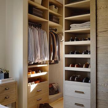 Jute interior Design - closets - closet door, sliding closet door, interior barn door, interior sliding barn door, closet barn door, closet siding barn door, built in shoe shelves, shelves for shoes, mens closet, mens closet design, built in drawers, woven baskets,