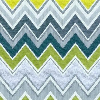 Fabrics - Schumacher Zenyatta Mondatta Peacock Fabric I LynnChalk.com - teal green and blue chevron fabric, blue green and white chevron fabric, chevron fabric,