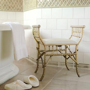 Panageries - bathrooms - gold bamboo bench, gold faux bamboo bench, faux bamboo bench, freestanding tub, fish scale tile, fish scale tiles, fish scale tile backsplash,