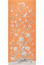Fabrics - Schumacher Mary McDonald Chinois Palais Tangerine Fabric I LynnChalk.com - orange gray and white chinoiserie fabric, orange chinoiserie fabric, orange gray and white chinese mural fabric,