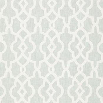 Fabrics - Summer Palace Fret Mineral Fabric I LynnChalk.com - gray and white fabric, trellis fabric, trellis style fabric,