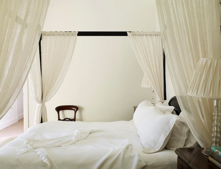 iron canopy bed with sheer panels traditional bedroom adelaide bragg. Black Bedroom Furniture Sets. Home Design Ideas