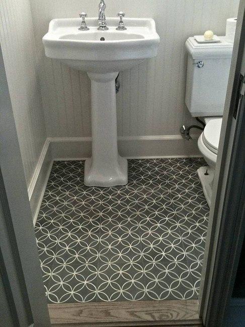 Gray Interlocking Circles Tile Floor Contemporary