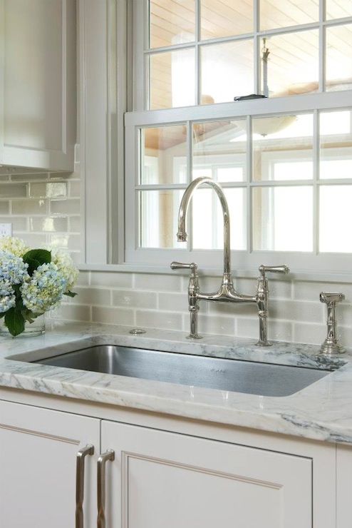 gray subway tile backsplash transitional kitchen