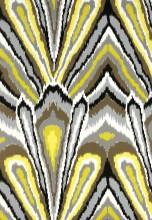 Fabrics - Trina Turk Peacock Print Driftwood Fabric I LynnChalk.com - yellow black brown white and gray fabric, trina turk fabric, modern yellow black brown white and gray fabric,