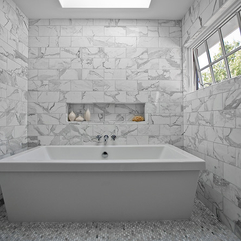 Kriste Michelini Interiors - bathrooms - marble bathroom, marble bathroom design, bathroom skylight, skylight bathroom, freestanding tub, modern freestanding tub, marble niche, marble tiled walls, white carrara marble, white carrara marble tile floor,