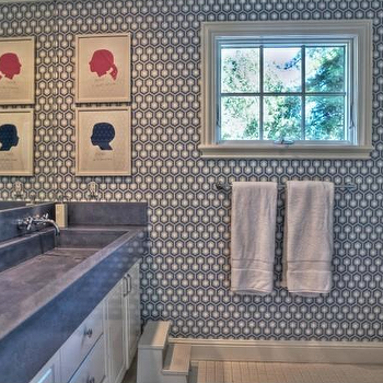 Hicks Hexagon Wallpaper, Contemporary, bathroom, Kriste Michelini Interiors