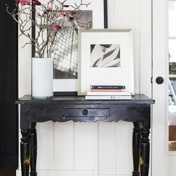 Kriste Michelini Interiors - entrances/foyers - cottage foyer, foyer, black foyer table, black console table, black farmhouse table, black farmhouse console table, white glass vase,