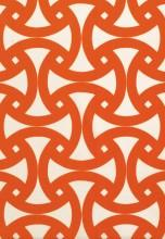 Fabrics - Trina Turk Santorini Print Persimmon Fabric I LynnChalk.com - orange and white fabric, orange and white geometric fabric, trina turk orange and white fabric,