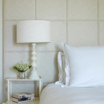 bedrooms - tall padded headboard, tall and wide headboard, tall headboard, padded headboard, white hotel bedding with gray stitching, step nightstand, white bamboo nightstand, faux bamboo nightstand, white faux bamboo nightstand,